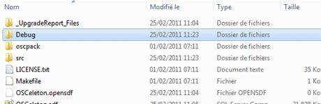 The debug folder after the generation