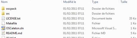The expand zip file of OSCeleton