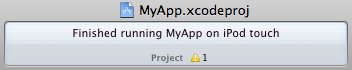 Finished running MyApp on iPod touch